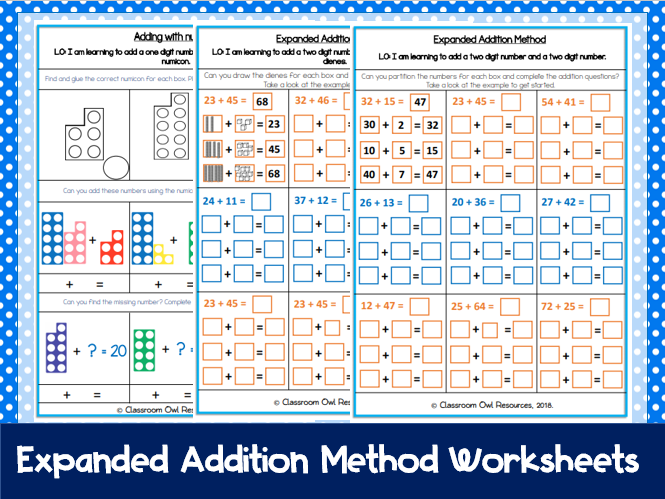 Year 2 Maths: Expanded Addition Method (differentiated worksheets)