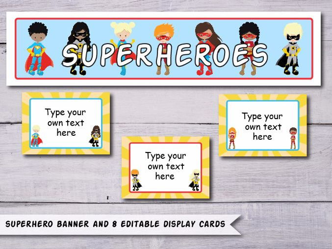Superheroes Display Banner with Display Cards - Instant Display Pack