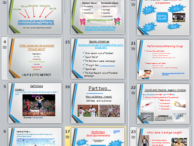 RO51 Cambridge Nationals Sports Studies-Lesson 2 & 3 -Promoting sporting values + Learning mat
