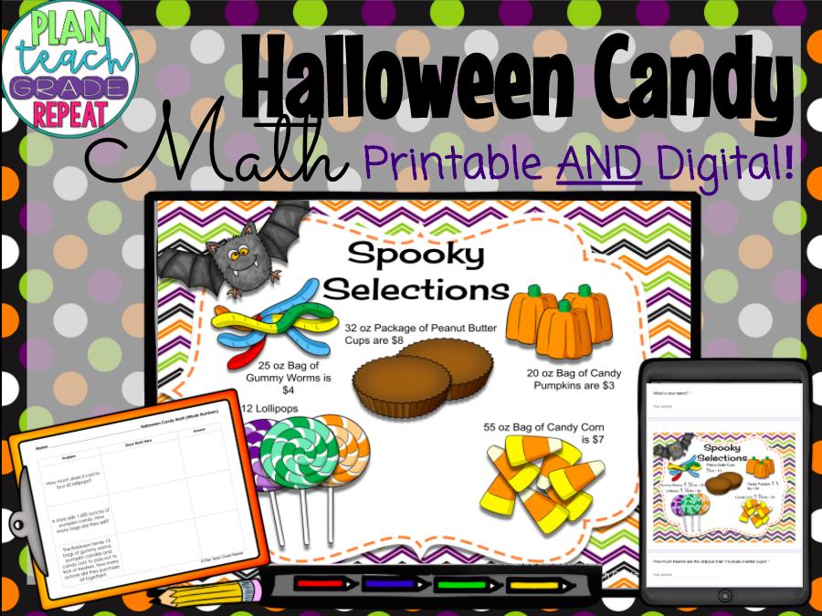 Halloween Math - Multiplication Division Decimals Fractions