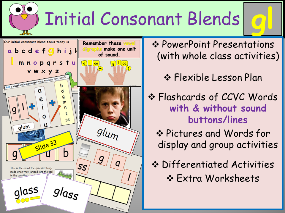 Phonics: Initial Consonant Blend GL-gl  CCVC Words, Presentations, Lesson Plan, Activities