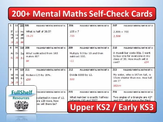 Mental Maths Cards KS2 Year 5 / 6