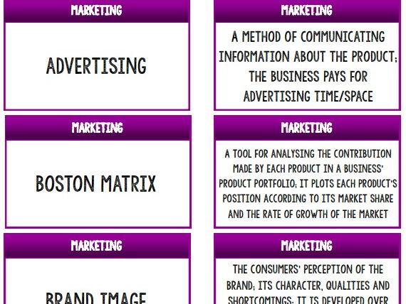 AQA GCSE Business (9-1) 3.5 Marketing Keywords Match-up Activity / Wall Display