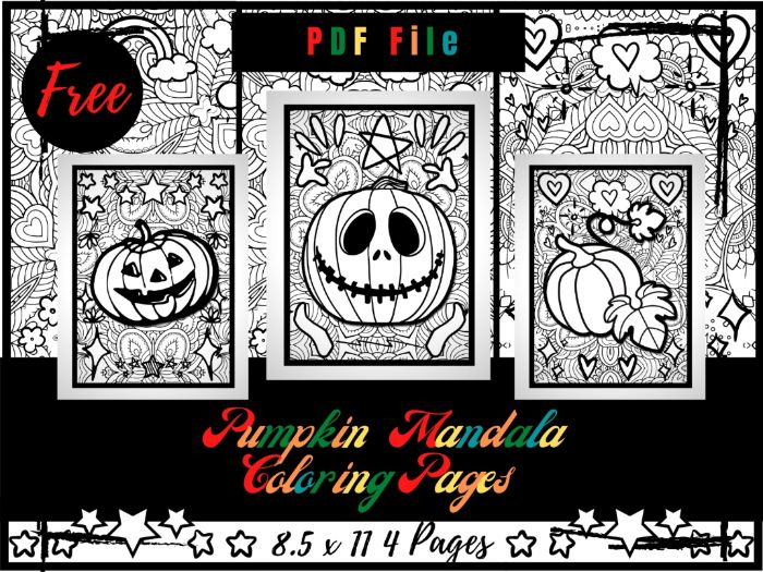 FREE Pumpkin Mandala Colouring Pages For Kids, Halloween Mandala Printable PDF