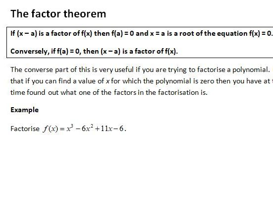 Notes and Examples for Edexcel A Level Maths Year 1 Topic 7: Further Algebra