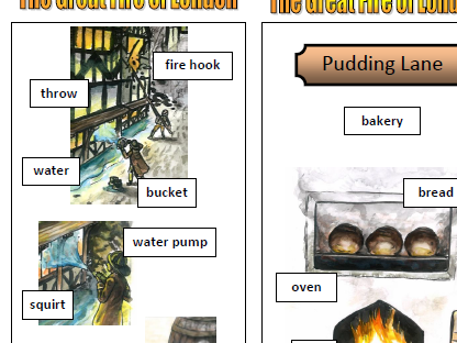 Great Fire of London vocabulary word mat / wordmat
