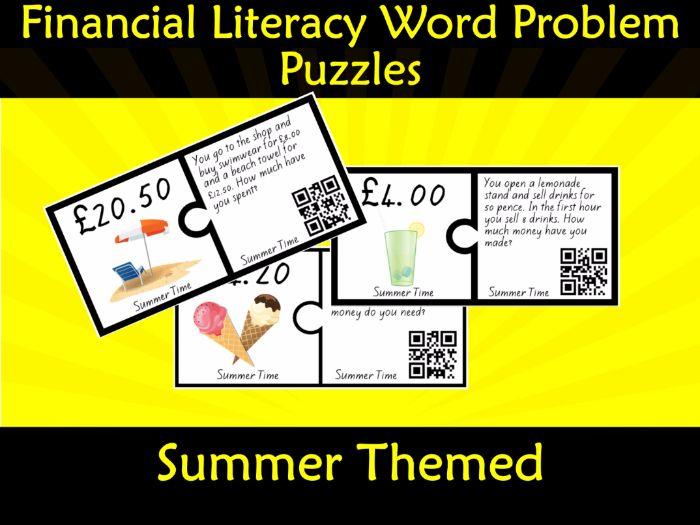 Financial Money Literacy Word Problem Puzzles (Pounds) QR Code