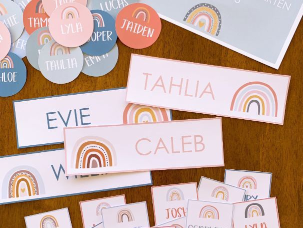 BOHO RAINBOW Classroom Labels + Signs Pack