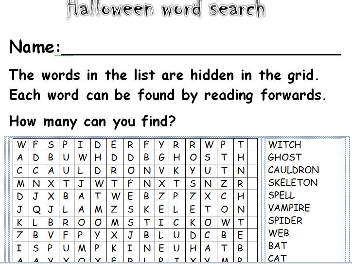 KS1/2 Halloween themed wordsearches(2).