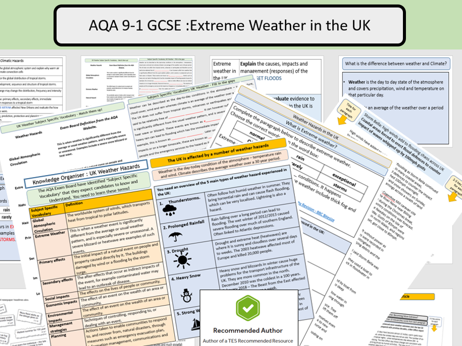 AQA GCSE Extreme Weather in the UK Complete Lesson and Supporting Resources.