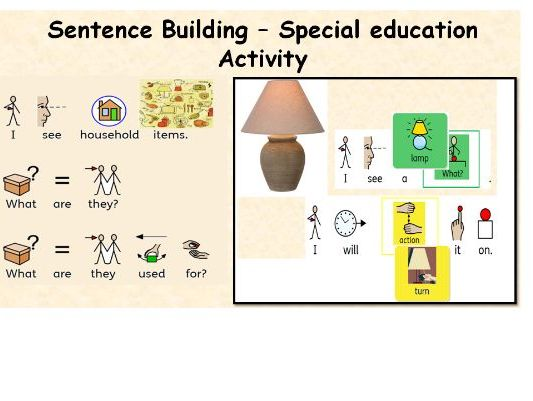 Build A Sentence with Pictures Interactive with household objects