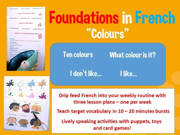 French colours - I like / I don't like - 3 lesson plan bundle
