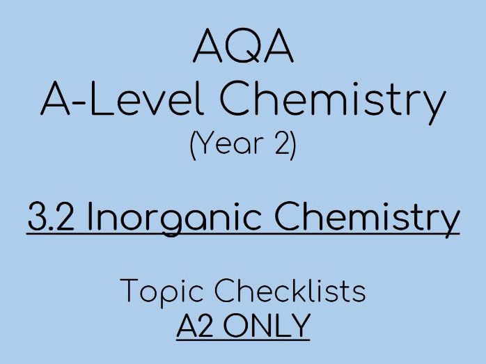 AQA A-Level Chemistry – A2 3.2 Inorganic Checklists