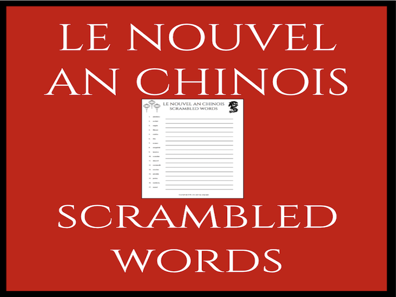 Le Nouvel An Chinois Méli-Mélo - French Chinese New Year Scrambled Words