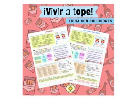 Vivir a tope: las drogas y el alcohol. Ficha con soluciones. Spanish GCSE 3 tenses. With answers