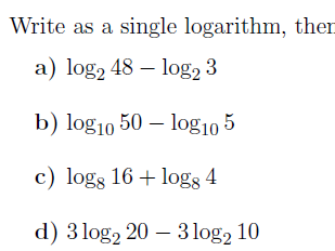 Laws of logarithms worksheet (with solutions)