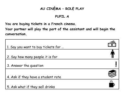 GCSE French speaking role play (cinema)
