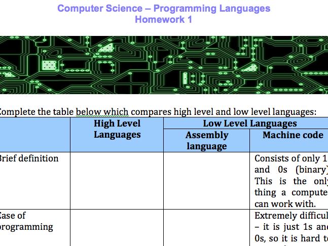 Low level programming languages homework tasks - GCSE Computer Science