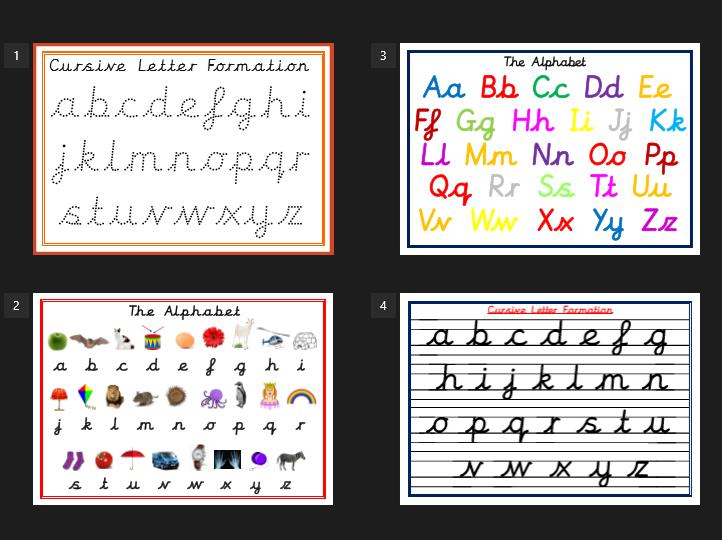 Cursive Alphabet Posters and Cursive Formation Practice