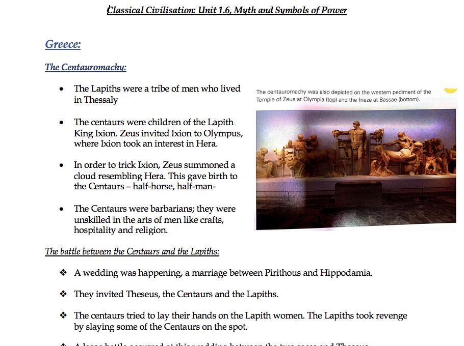 Unit 1 Myth and Religion Bundle - All Revision Notes for OCR Unit 1 Classical Civilisation GCSE