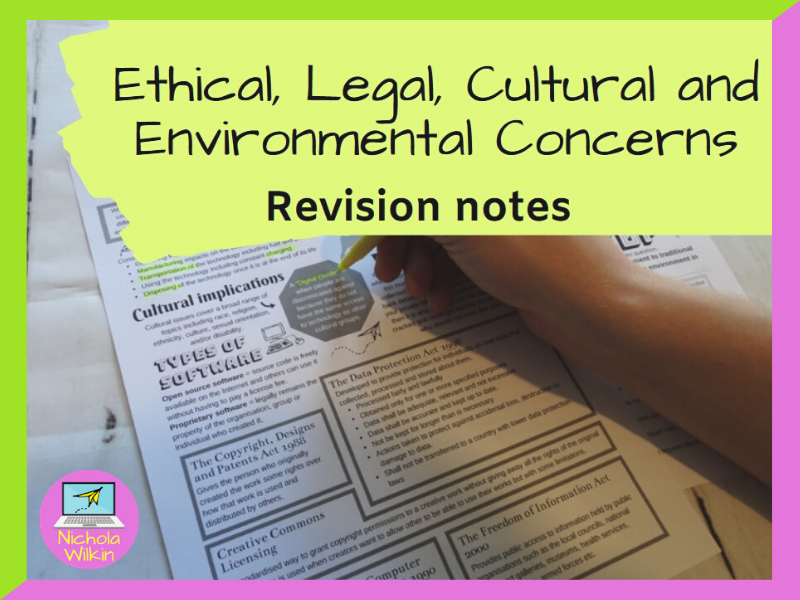 Ethical, Legal, Cultural and Environmental Concerns Revision Knowledge Organiser