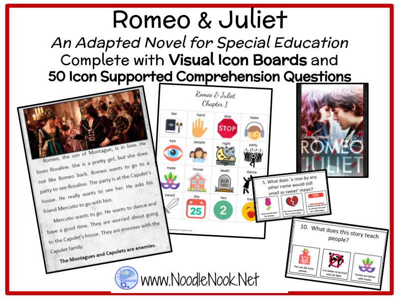 Romeo & Juliet- An Adapted Novel for Special Education and Autism Units.