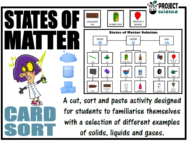 States of Matter Card Sort Cut and Paste Activity