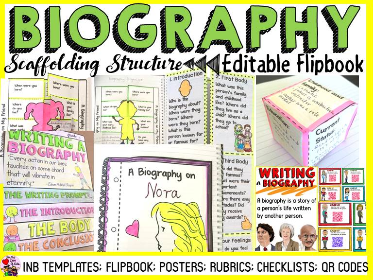 WRITING A BIOGRAPHY: INTERACTIVE NOTEBOOK FLIPBOOK: QR CODES