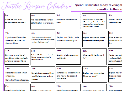 AQA D&T- Textiles Revision Calendar