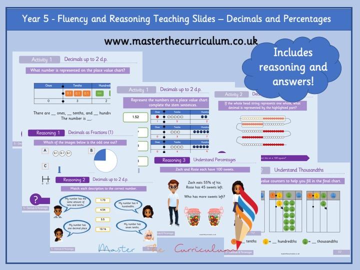 Year 5 - Editable Decimals & Percentages Fluency & Reasoning Teaching Slides - White Rose Style