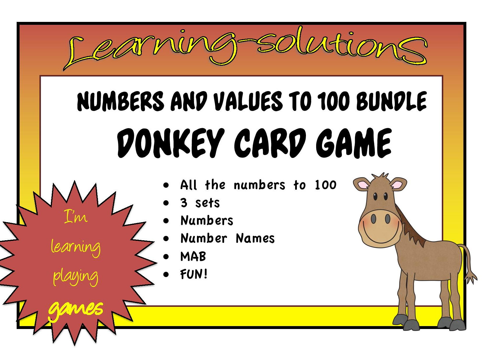 NUMBERS TO 100 - Number Names, Numbers, Pop Sticks and MAB + DONKEY Card Game
