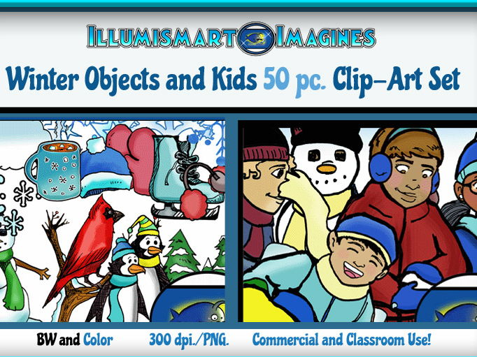 Winter Bundle: Kids and Objects! (32 BW and Color ClipArt!