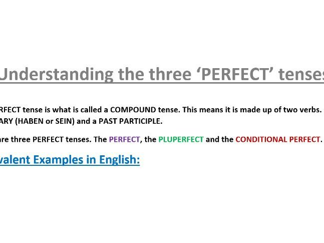 German Compound Tenses (Perfect, Pluperfect, Conditional Perfect) worksheet