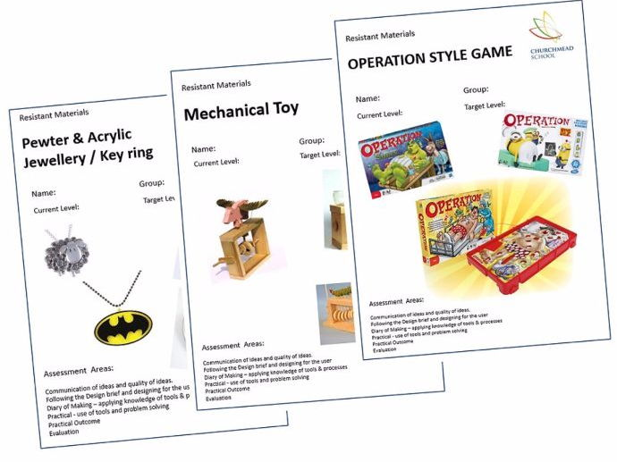 Class workbooks including pewter casting, mechanical toys, operation style game
