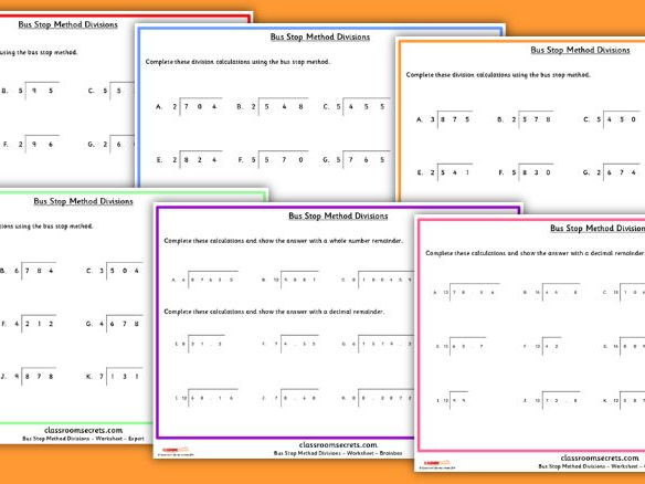 bus stop method division worksheets for ks2 by classroomsecrets teaching resources. Black Bedroom Furniture Sets. Home Design Ideas