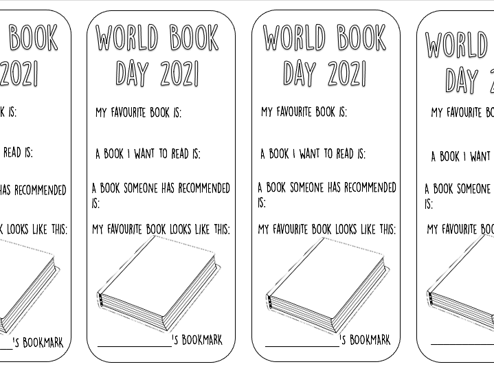 World Book Day 2021 Bookmarks design your own