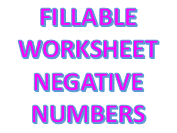 Fillable Maths Worksheet - Negative Numbers
