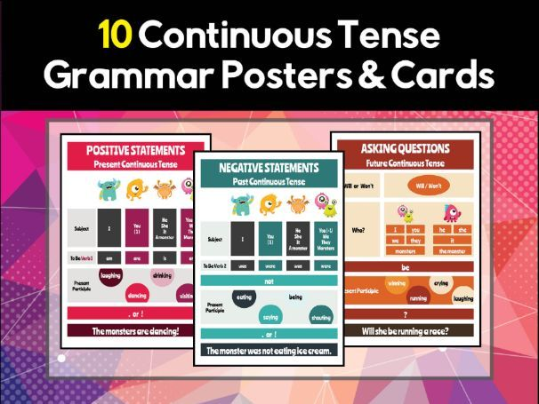 10 Continuous / Progressive Tense Grammar Posters & Flash Cards