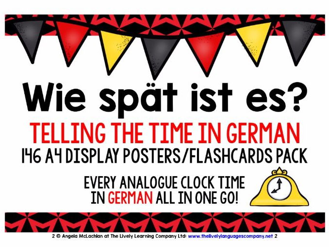 GERMAN TIME - 146 POSTERS / FLASHCARDS - EVERY ANALOGUE CLOCK TIME IN GERMAN!