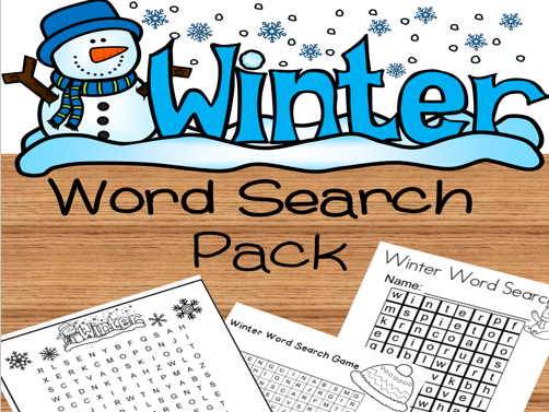 Winter Word Search (Christmas,Holidays)