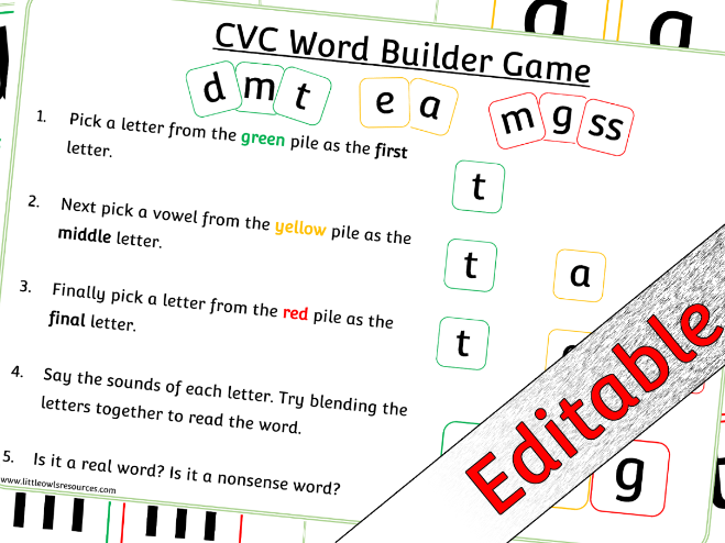 Phase 2 Letters and Sounds/Phonics CVC Word Builder Game/Activity - Editable