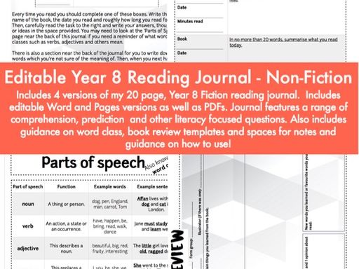 Editable Reading Journal / Diary - Non-Fiction Year 8