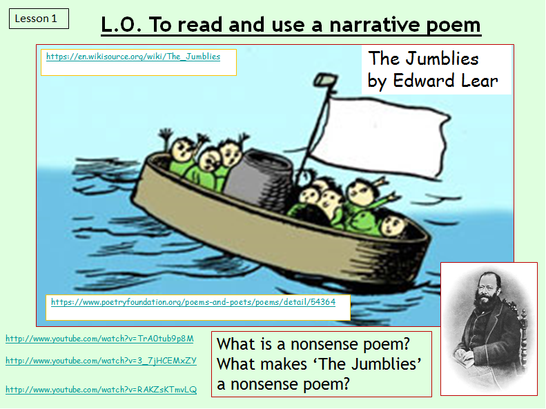 Poetry - 'The Jumblies' analysis and comprehension (primary)