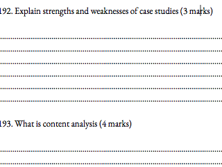 Research method booklet question