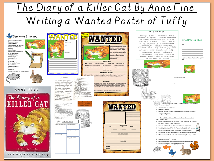 The Diary of a Killer Cat by Anne Fine -Writing a Wanted Poster