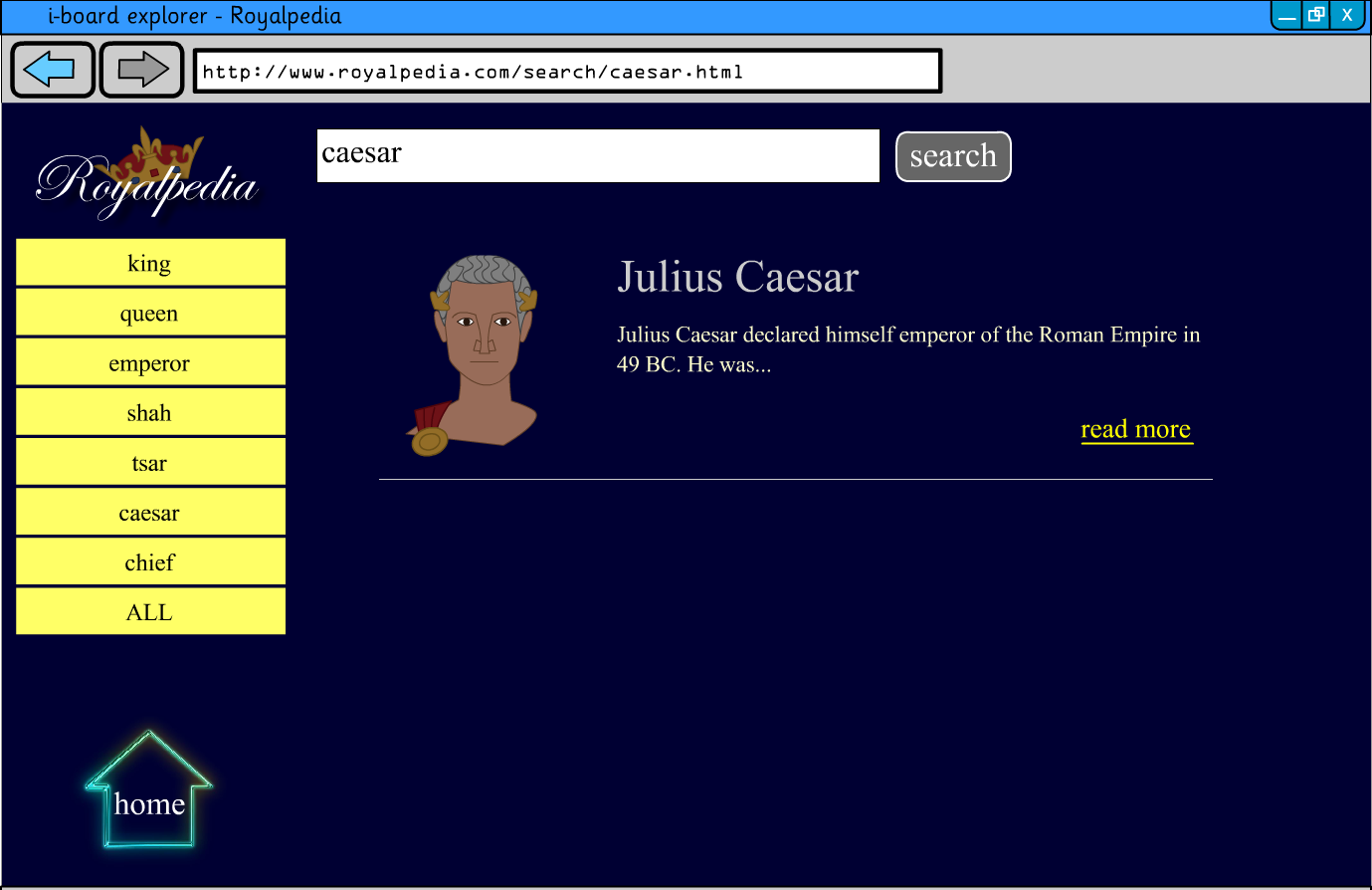Interactive Information Website - Kings, Queens and Rulers KS2