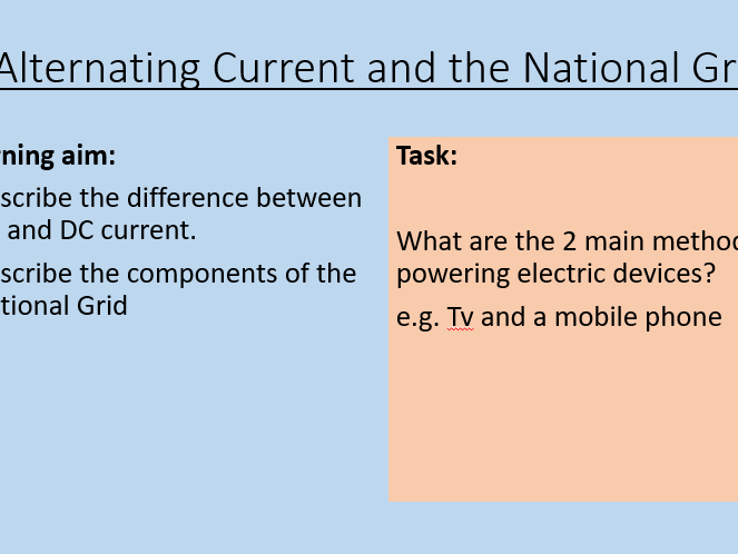 AQA P5.1 Alternating Current and the National Grid