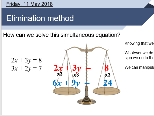 Simultaneous equations elimination method lesson