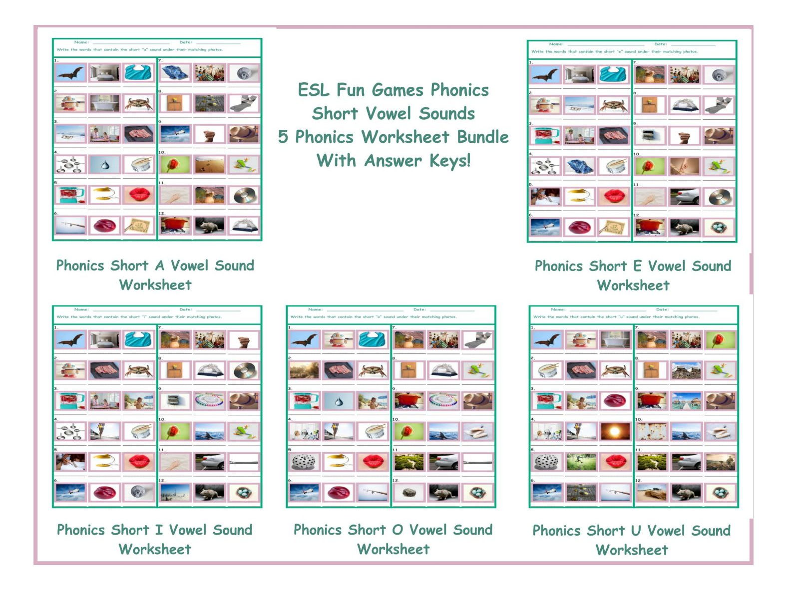 Phonics Short O Vowel Sound Worksheet by eslfungames Teaching – Vowel Sound Worksheets
