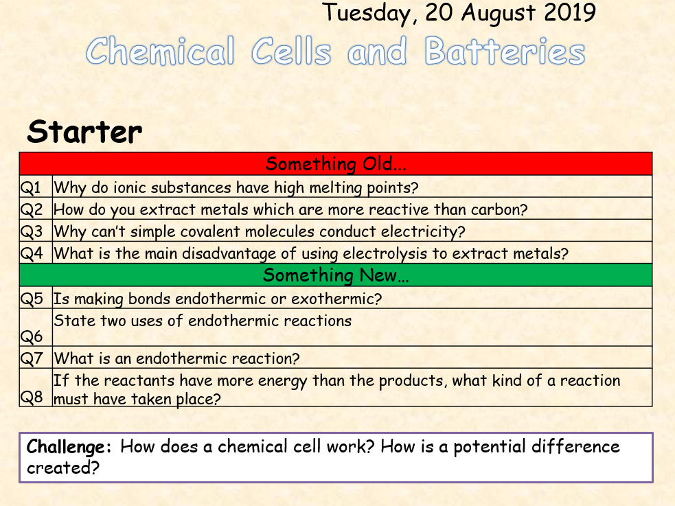 AQA Chemistry Topic 7: Chemical Cells and Batteries (triple)